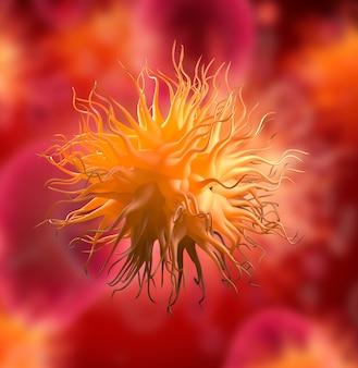 Virus patogeni che causano infezione nello scoppio della malattia virale dell'organismo ospite, illustrazione 3d