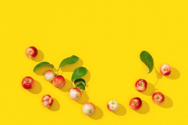Modello da piccole mele rosse e foglie verdi con ombre scure su colore giallo