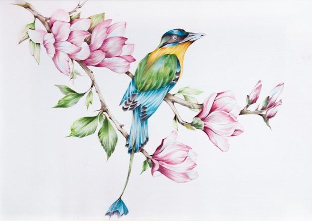 Modello. fiori e foglie di seta batik disegnati a mano con uccello su sfondo bianco.