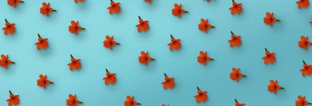 Modello di cordia arancione fiore su sfondo blu.