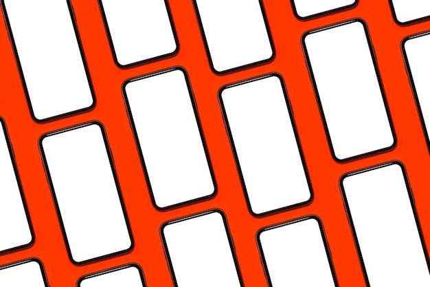 Modello di smartphone con mockup isolato su sfondo di colore rosso.