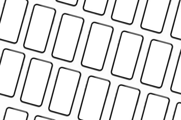 Modello di smartphone con mockup isolati su sfondo bianco.