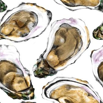 Modello con gusci di ostriche disegnati a mano su sfondo bianco