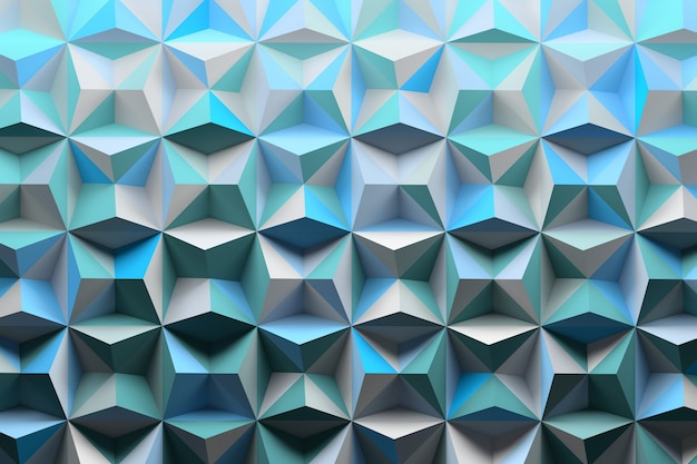 Modello con punte di piramidi colorate con sfumature blu casuali