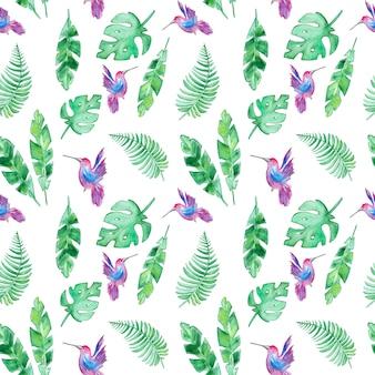 Modello con foglie tropicali e colibrì