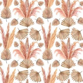 Modello con foglie tropicali ed erba di pampa su sfondo bianco isolato. illustrazione dell'acquerello.