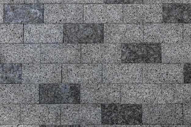 Pavimentazione in pietra texture vecchio pavimento in mattoni pattern marciapiede in ciottoli vista dall'alto costruzione quadrata primo piano esterno lastra grigia mosaico patio muro di granito