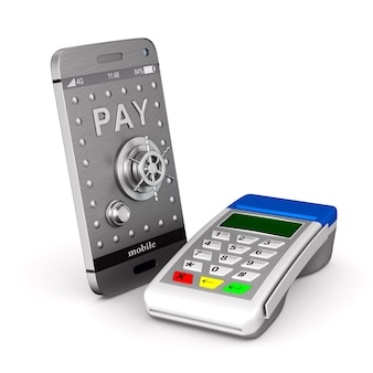 Terminale di pagamento e telefono su priorità bassa bianca. illustrazione 3d isolata