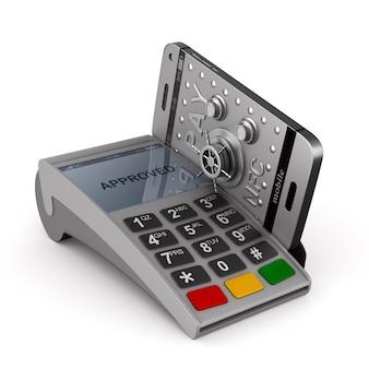 Terminale di pagamento e telefono su bianco