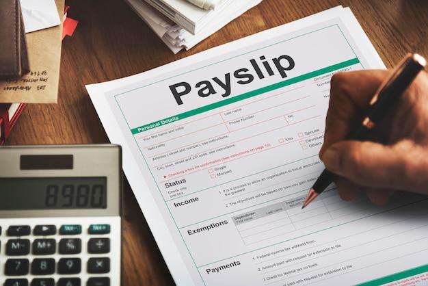 Concetto di modulo d'ordine di acquisto busta paga