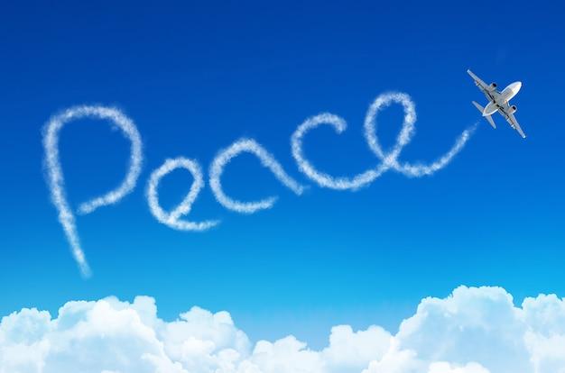 Pace - iscrizione nel cielo lasciata in aereo.