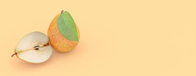 Pera su uno sfondo giallo, illustrazione 3d