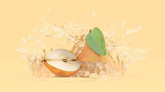 Pera su sfondo giallo in spruzzi d'acqua, illustrazione 3d