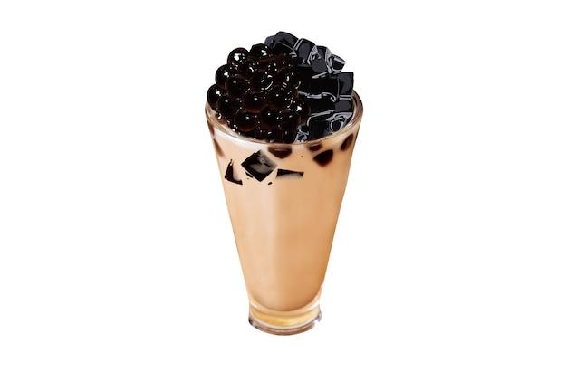 Tè al latte di erba fata perla su sfondo bianco tè a bolle di erba fata perla tè al latte