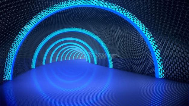 Piedistallo per display, piattaforma per il design, tunnel lungo scuro con luce futuristica. rendering 3d