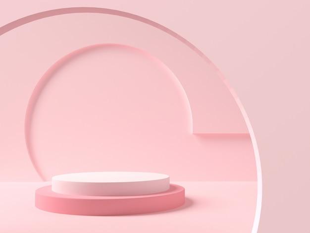 Piedistallo in camera color pastello con interni geometrici