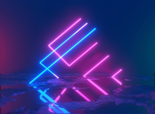 Podio metallico lucido della piattaforma del piedistallo con l'illustrazione 3d della fase di prestazione della linea luminosa