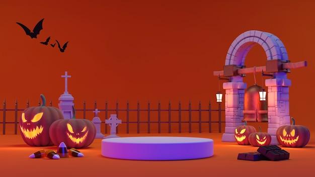Podio piedistallo su sfondo arancione. , promozione del prodotto di halloween. rappresentazione spettrale astratta 3d.