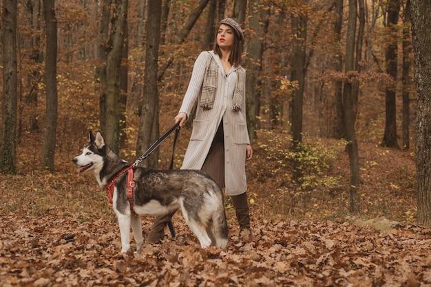 Concetto di cane di razza. cane husky - migliori amici. la ragazza gode della passeggiata con il cane husky. husky siberiano