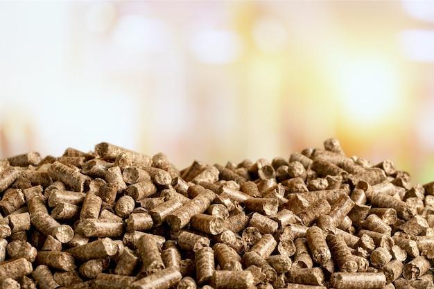 Pellet biomassa- primo piano sullo sfondo