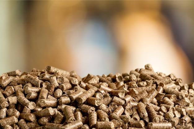 La biomassa di pellet si chiude su uno sfondo sfocato