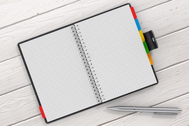 Penna vicino al diario personale rivestito in pelle nera o al libro dell'organizzatore con pagine vuote per il tuo design sul primo piano estremo del tavolo in legno. rendering 3d