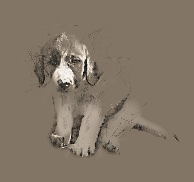Disegno a matita di un simpatico cucciolo seduto triste con le orecchie pendenti