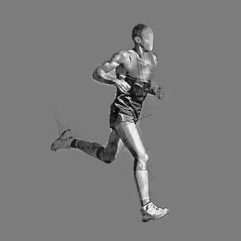 Disegno a matita di un uomo che corre sfondo bianco