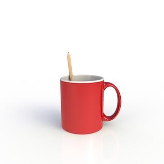 Matita in tazza di caffè rossa su bianco
