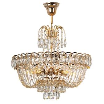Lampadario a sospensione in cristallo con elementi in metallo dorato plafoniera in stile classico