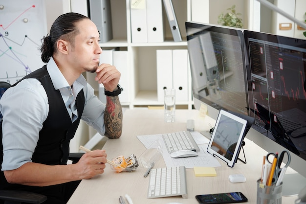 Commerciante pensieroso che mangia panini quando analizza le tendenze del mercato azionario sullo schermo del computer di fronte a lui, pensando a quali azioni e futures comprare e vendere