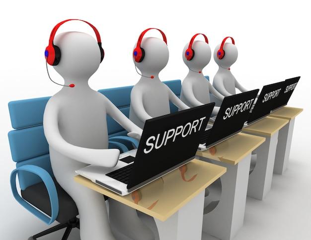 Le persone come operatori con un laptop stanno fornendo supporto
