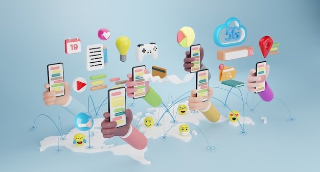 Mani di persone che tengono smartphone con icone di gadget. concetto di social media. rendering 3d
