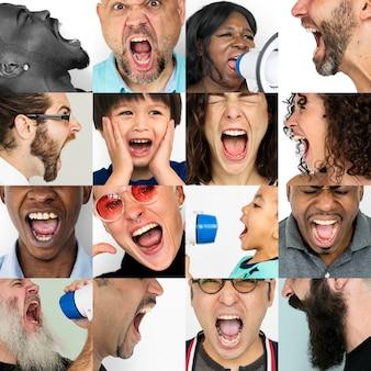Collage arrabbiato del ritratto dello studio di espressione di emozione di sensibilità arrabbiata della gente