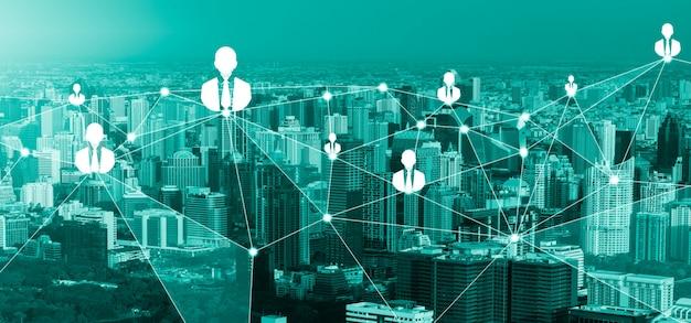Rete di persone e concetto di comunicazione creativa globale