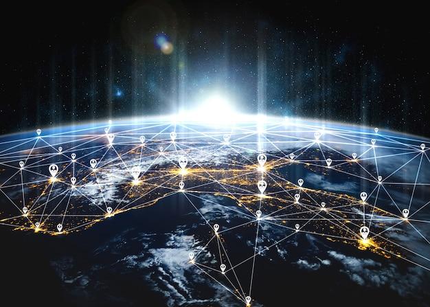 Rete di persone e connessione di terra globale nella percezione innovativa