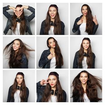 Persone, ritratto e concetto di bellezza - collage di diverse espressioni facciali della donna