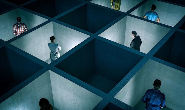 Persone intrappolate in piccole stanze di cemento con settori. concetto di separazione, allontanamento. immagini e modelli di rendering 3d.