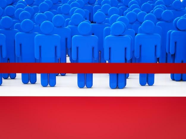 Persone in attesa dietro la linea rossa