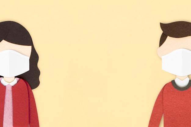 Persone che indossano maschere per il viso sullo sfondo di un mestiere di carta pubblico