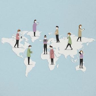 Persone con maschere facciali in tutto il mondo durante l'illustrazione del modello sociale dell'epidemia di coronavirus Foto Premium