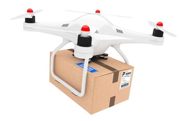Percel concetto di spedizione. droni quadrocopter che consegnano un pacco su uno sfondo bianco. rendering 3d