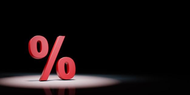 Simbolo del segno di percentuale sotto i riflettori isolato