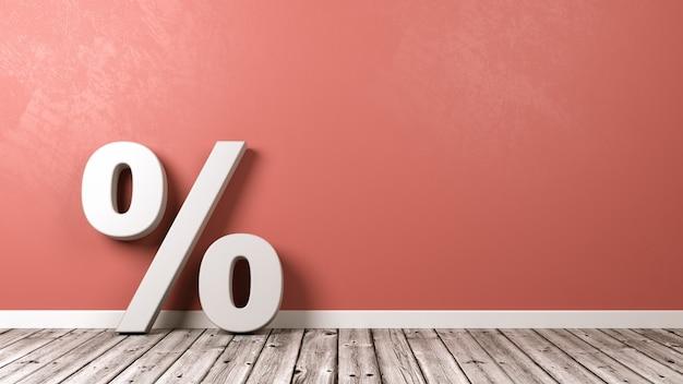 Simbolo del segno di percentuale sul pavimento di legno contro il muro