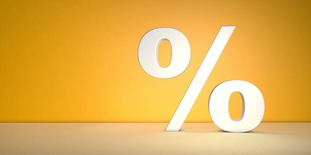 Segno di percentuale sul muro giallo