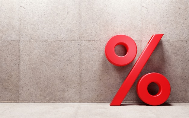 Segno di percentuale che si appoggia sulla parete. rendering 3d