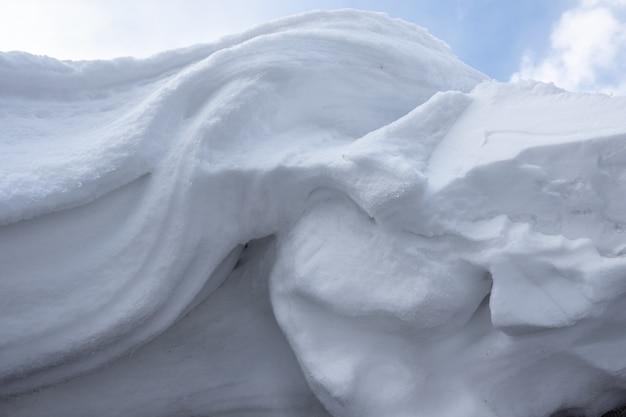 Perfetta trama astratta di neve invernale, cumuli di neve bianca congelata. superficie ondulata di un cumulo di neve. elemento di design astratto della neve vorticosa