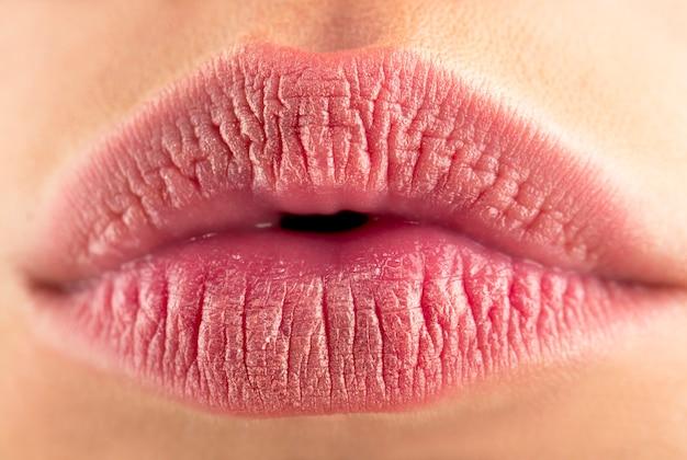 Trucco labbra naturale perfetto. close up foto macro con bella bocca femminile. bellissimo labbro tenero spa, labbra sexy. rossetto e lucidalabbra, labbra appassionate. macro della parte del viso della donna.
