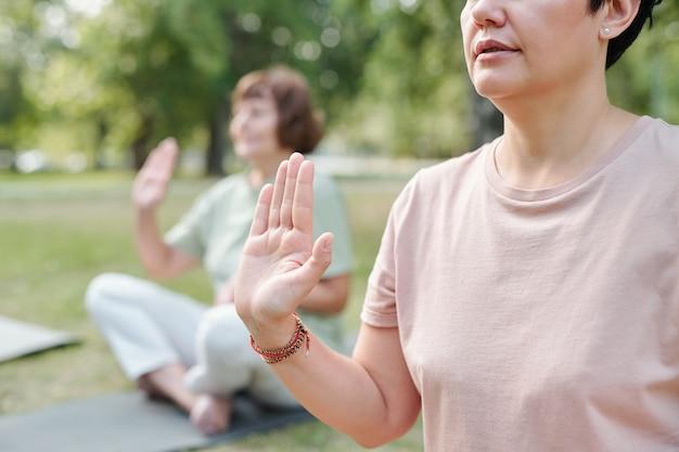 Esecuzione di esercizi di yoga all'aperto