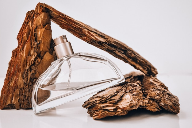 Profumo di corteccia di albero con gocce d'acqua. struttura. concetto di freschezza e naturalezza. l'aroma del legno e della rugiada mattutina. malinconia autunnale. copia spazio, l'olio viene miscelato con acqua in un flacone spray.